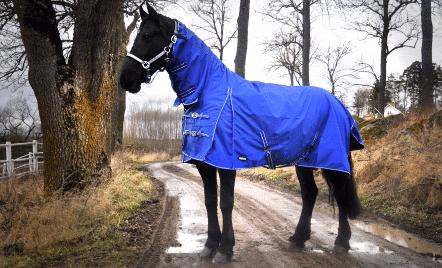 Hästtäcke - regntäcke häst, 600D helhals utan fyllning, blått