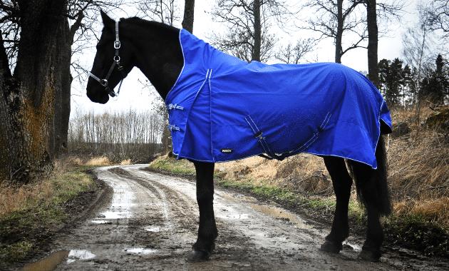 Hästtäcke - regntäcke för häst med halvhals, 600D, blå