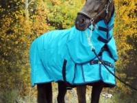 Hästtäcke - regntäcke 1680D, avtagbar hals, 50 gr fyllning, turkos