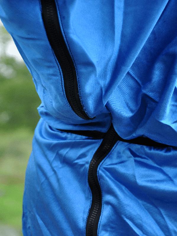 Eksemtäcke blått, detalj dragkedja