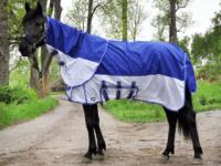 Hästtäcke - kombinerat flugtäcke och regntäcke med avtagbar hals, blå/vit