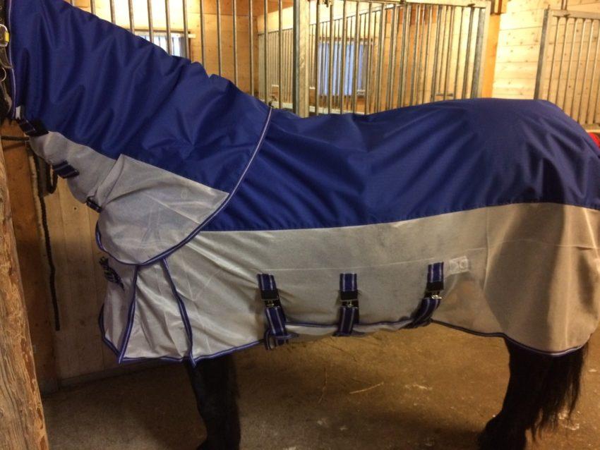 Regnflugtäcke - kombinerat flugtäcke och regntäcke, blått/vitt