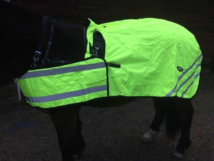 Hästtäcke - körtäcke med reflexer, gulgrön