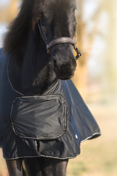 Hästtäcke - tävlingstäcke, shiny fleece med silverdetaljer, framifrån